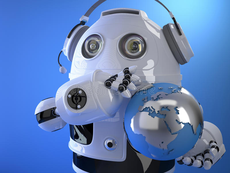 Robot operator in headset with globe. Globall support concept. C. 3d Robot operator in headset with globe. Globall support concept. Contains clipping path stock illustration