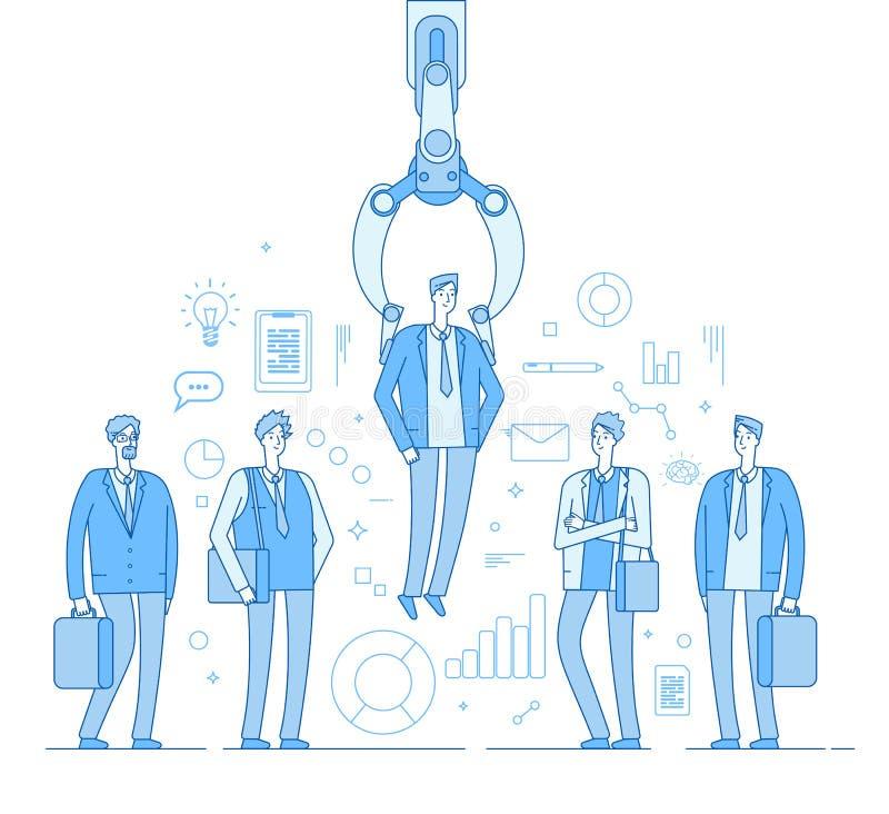 Robot osoba werbująca Przemysłowy pazur wybiera mężczyzny od ludzi wybierającej grupy Rekrutacyjny ludzki zatrudnieniowej agencji royalty ilustracja