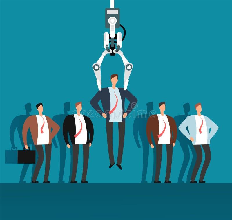 Robot osoba werbująca wybiera mężczyzna od wybranej grupy ludzi z przemysłowym pazurem Rekrutacja, zatrudnieniowej agenci wektor ilustracja wektor