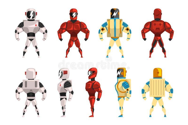 Robot ostumes set, superhero man vector Illustrations vector illustration