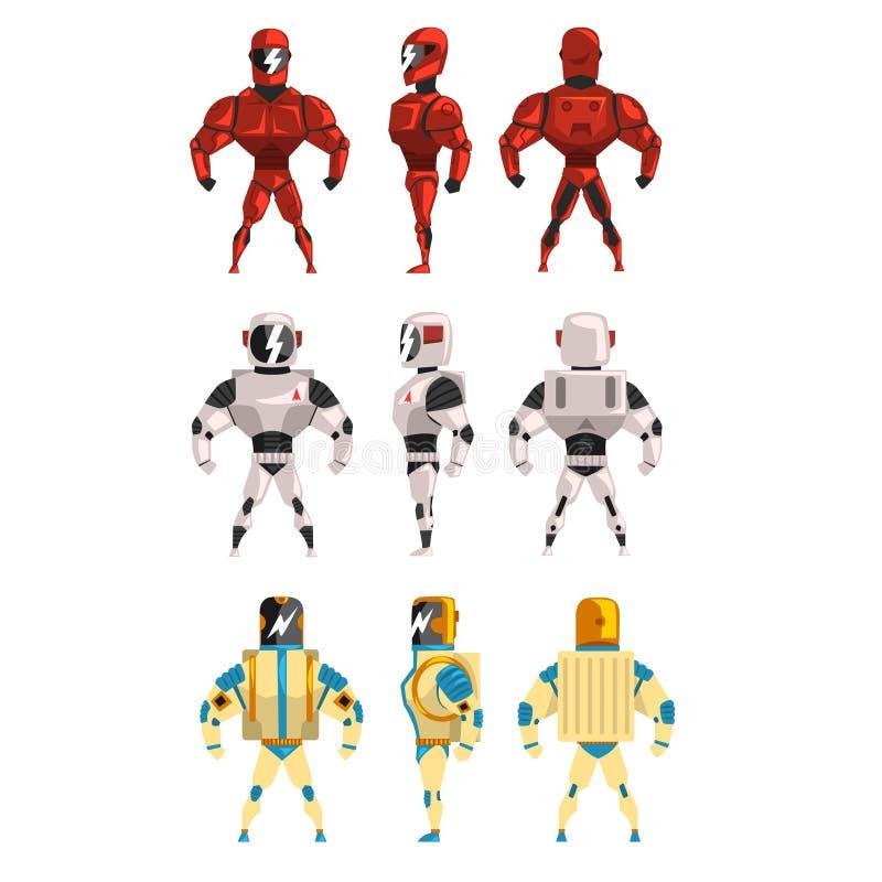 Robot ostumes set, superhero man vector Illustrations royalty free illustration