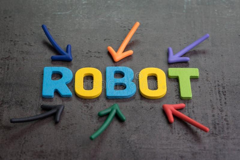 Robot ou concept d'intelligence artificielle, flèche multiple indiquant des alphabets colorés établissant le mot ROBOT sur le cim photos libres de droits