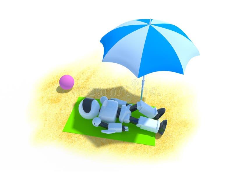 Robot på en strand royaltyfri illustrationer