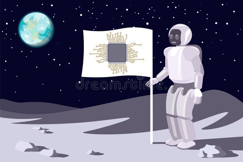 Robot på månen utskrivaven green för strömkrets för chip för bakgrundsbanerbräde Blå jord i himmel vektor vektor illustrationer