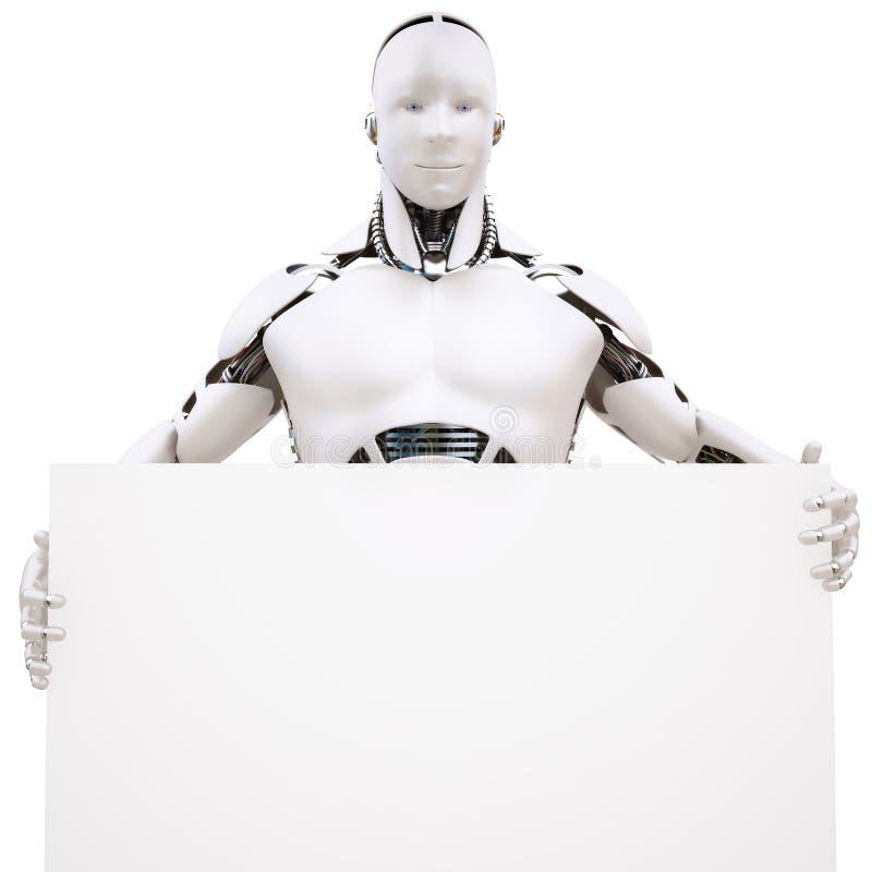 Robot_p3. Human similar robot holding the edge of a blank sign stock illustration