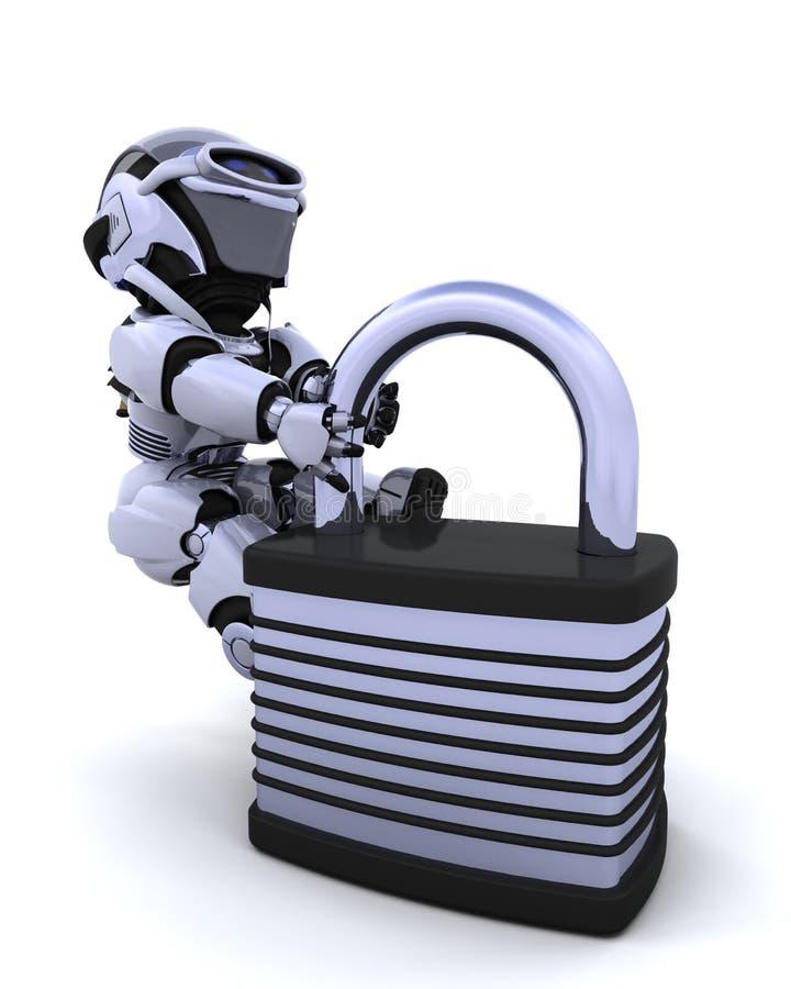 Robot with padlock stock illustration
