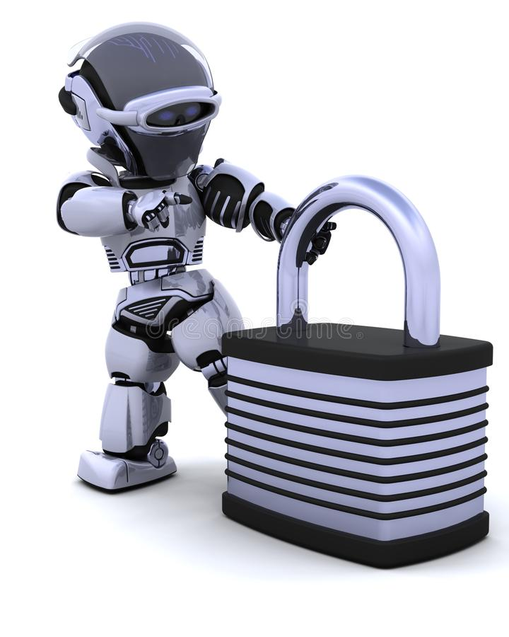 Robot with padlock. 3D Render of a robot with padlock stock illustration