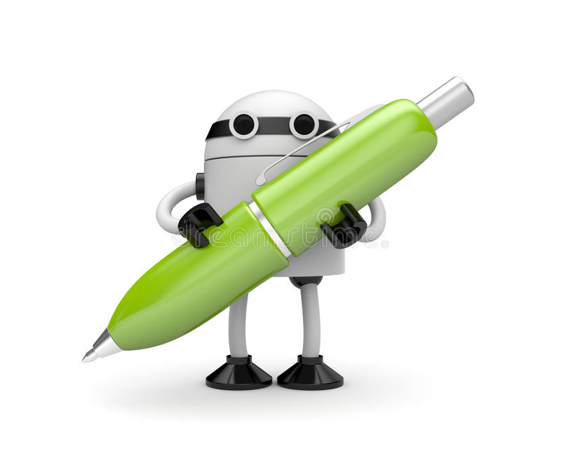 Robot with pen stock illustration