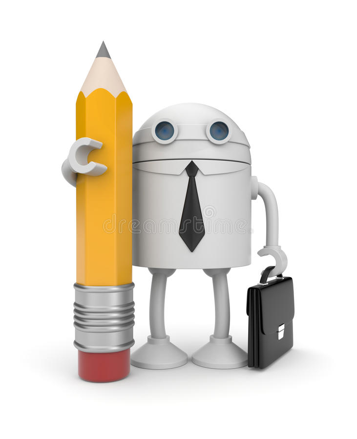 Robot with pencil royalty free illustration