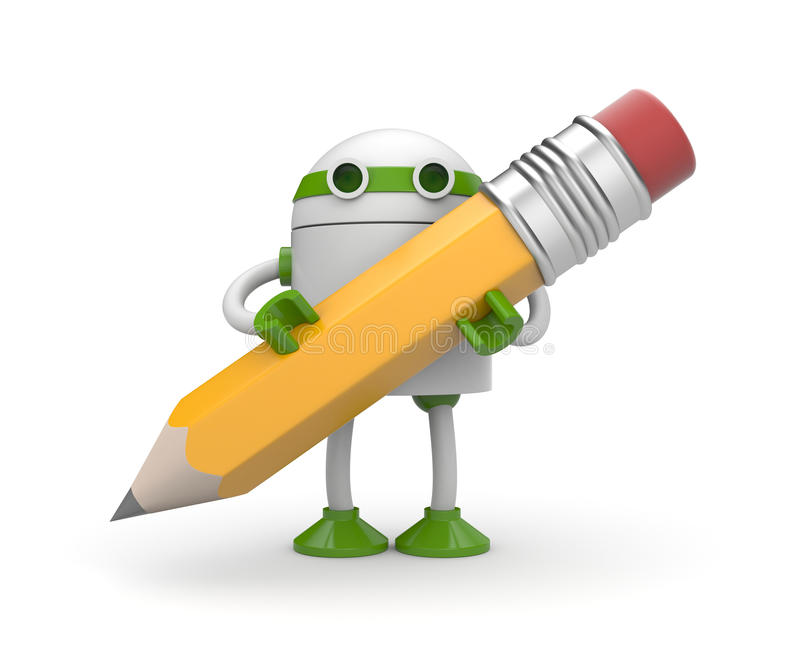 Robot with pencil vector illustration