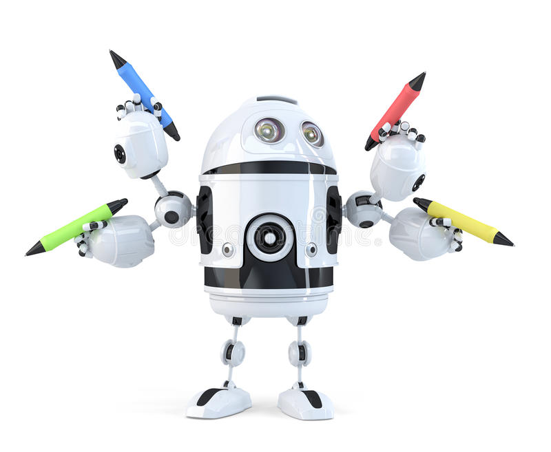 Robot with pencils. Multitasking concept. Isolated. Contains clipping path vector illustration