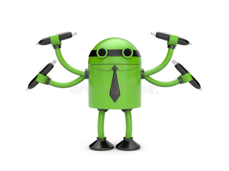 Robot with pens stock illustration
