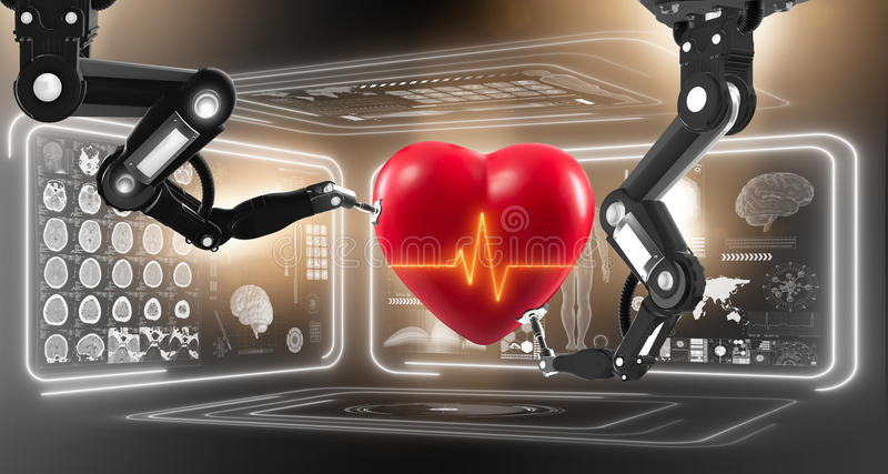 The robot performing surgery on heart vector illustration