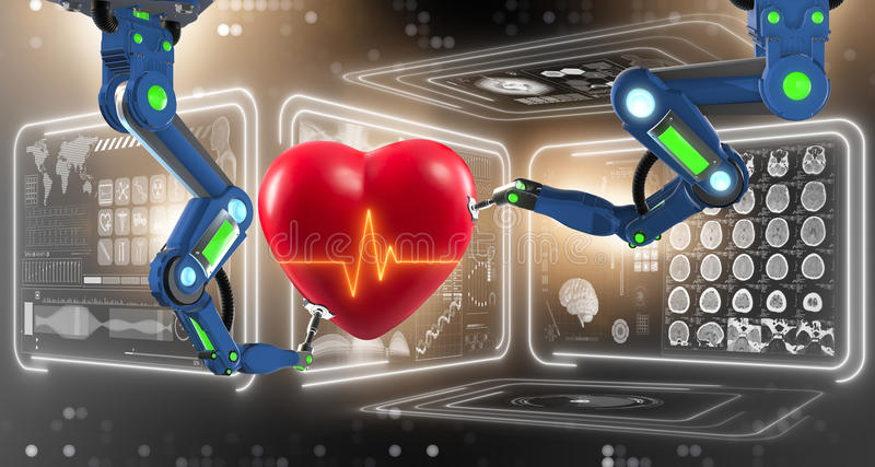 The robot performing surgery on heart. Robot performing surgery on heart stock illustration