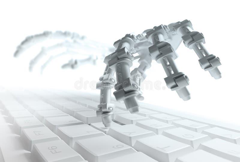 Robot pisać na maszynie na komputerowej klawiaturze ilustracji