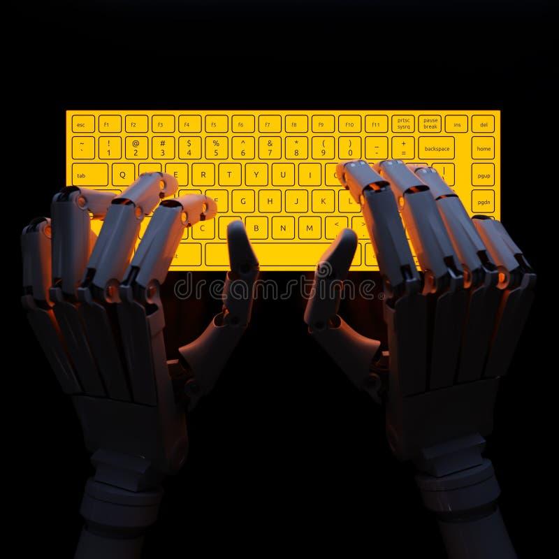 Robot pisać na maszynie na fluorescencyjnej klawiaturze ilustracja wektor