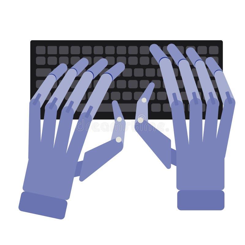 Robot pisać na maszynie prostą ilustrację na białym tle ilustracji