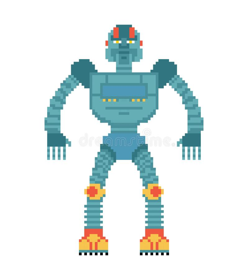 Robot pixel art. Cyborg 8 bit style. Old game graphics royalty free illustration