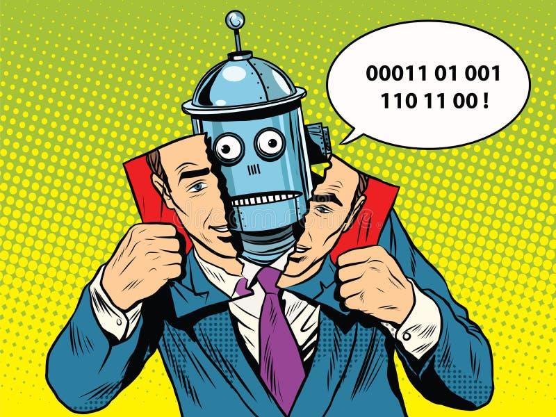 Robot in plaats van een persoon stock illustratie