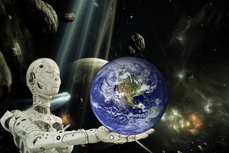 Robot and planet earth. Photo collage robot and planet earth royalty free illustration