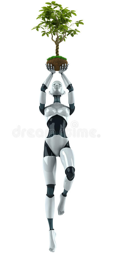 Robot with a plant stock illustration