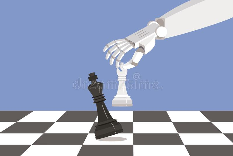 Robot Playing chess and Checkmate. Artificial intelligence surpasses the human brain royalty free illustration