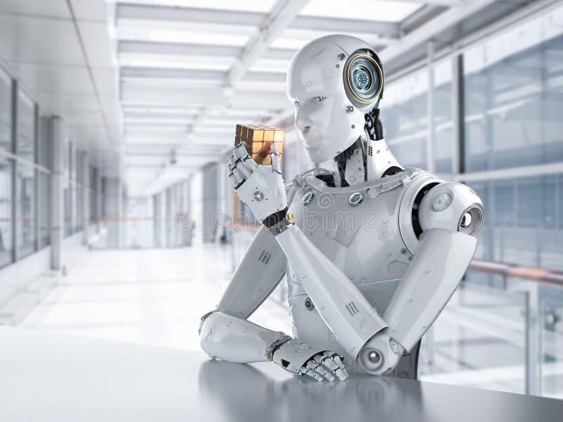 Robot playing cube stock photos
