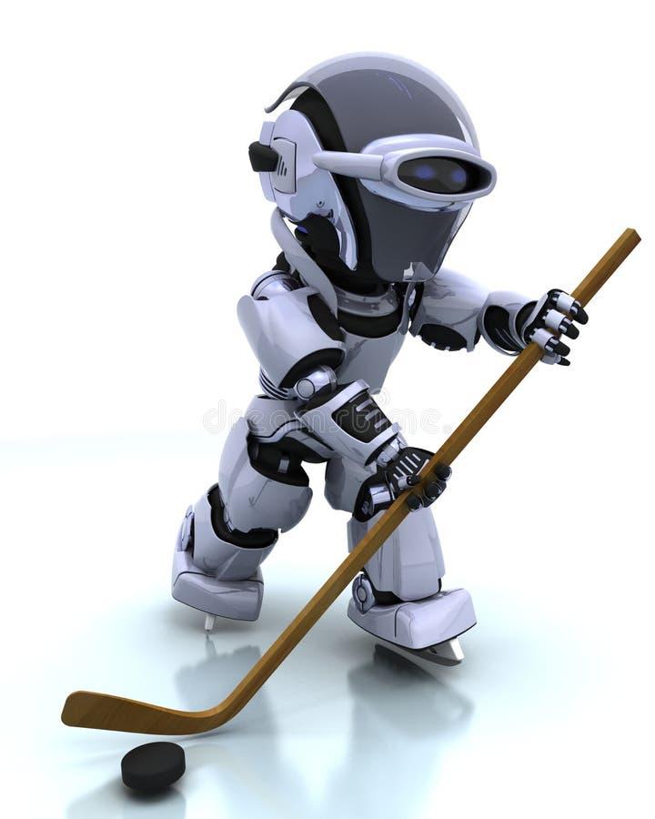Robot playing icehockey vector illustration