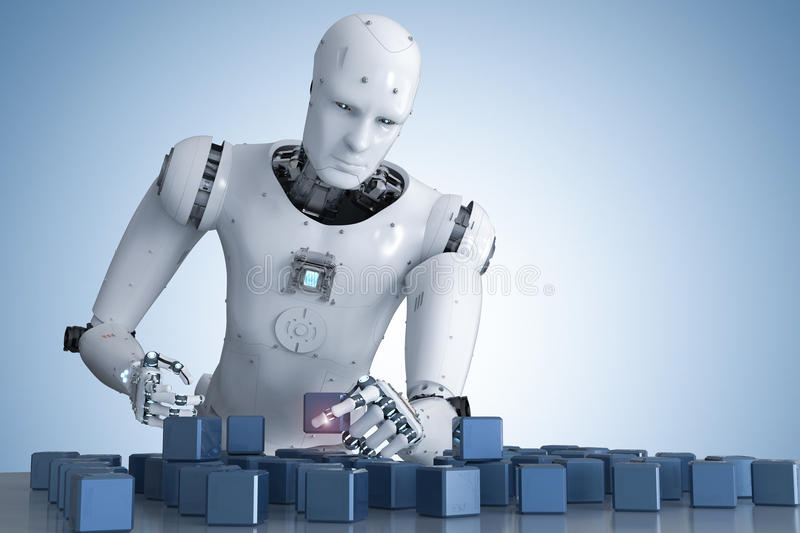 Robot playing puzzle stock illustration