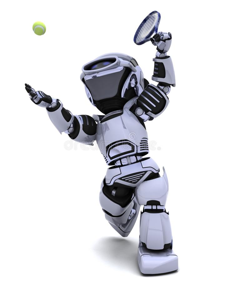 Download Robot playing tennis stock illustration. Image of court - 17827403