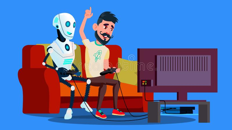 Robot Playing Video Game With Friend Vector. Isolated Illustration vector illustration