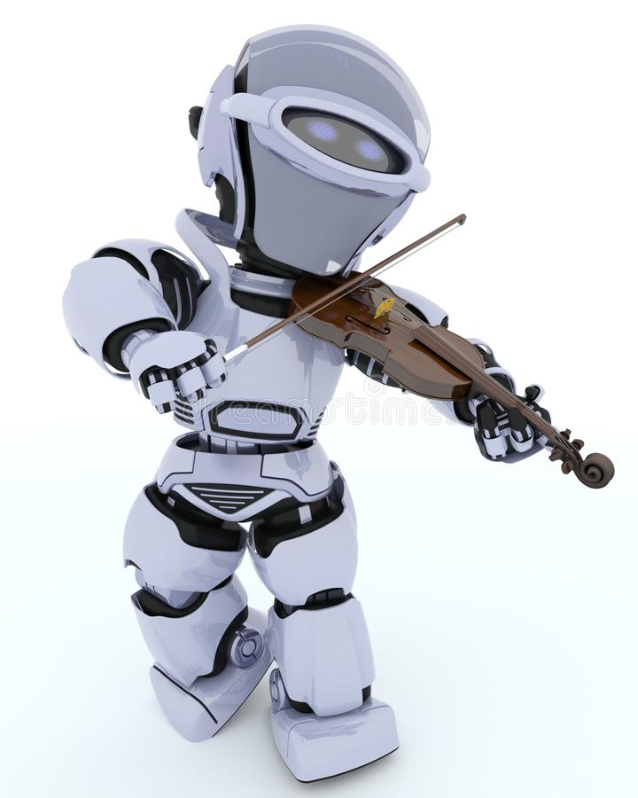 Robot playing the violin stock illustration