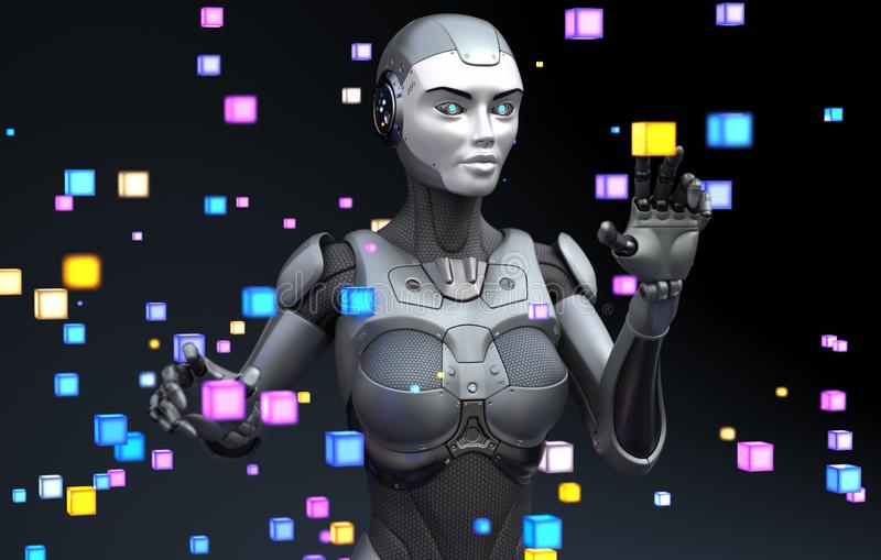 Robot playing with virtual objects royalty free illustration