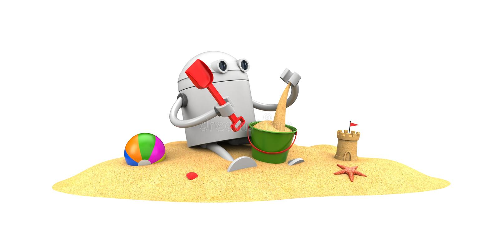 Robot plays in the sand with toys royalty free illustration