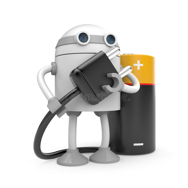 Robot With Plug And Battery Stock Photos