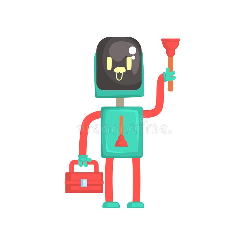 Robot plumber character, android holding tool box and plunger cartoon vector illustration vector illustration