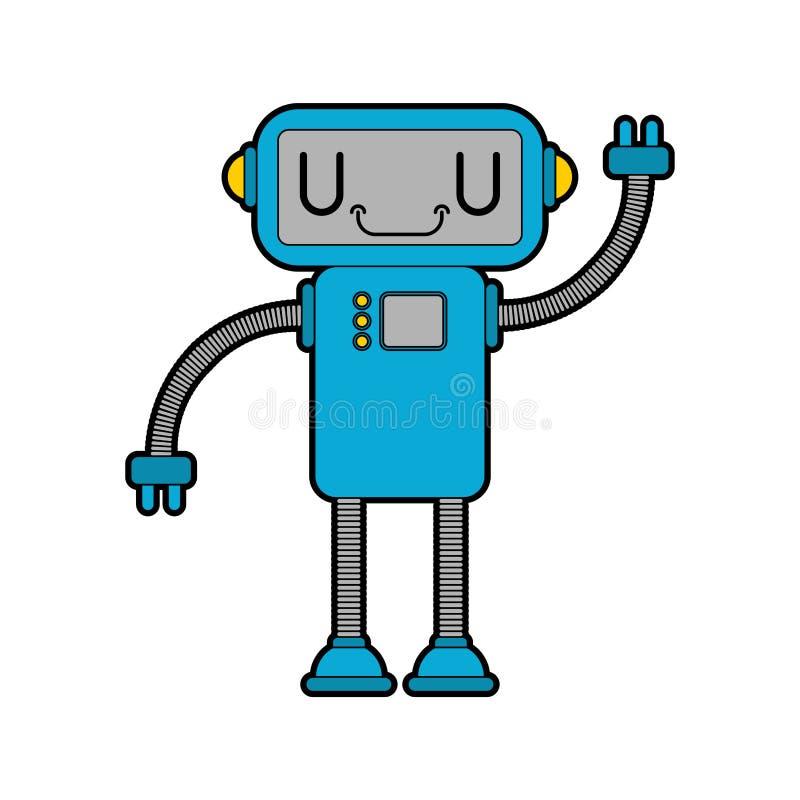 Robot poco estilo lindo de la historieta vector IL del juguete de la tecnología del cyborg libre illustration