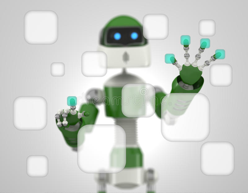 Download Robot That Point On Digital Interface Stock Illustration - Image: 31955456