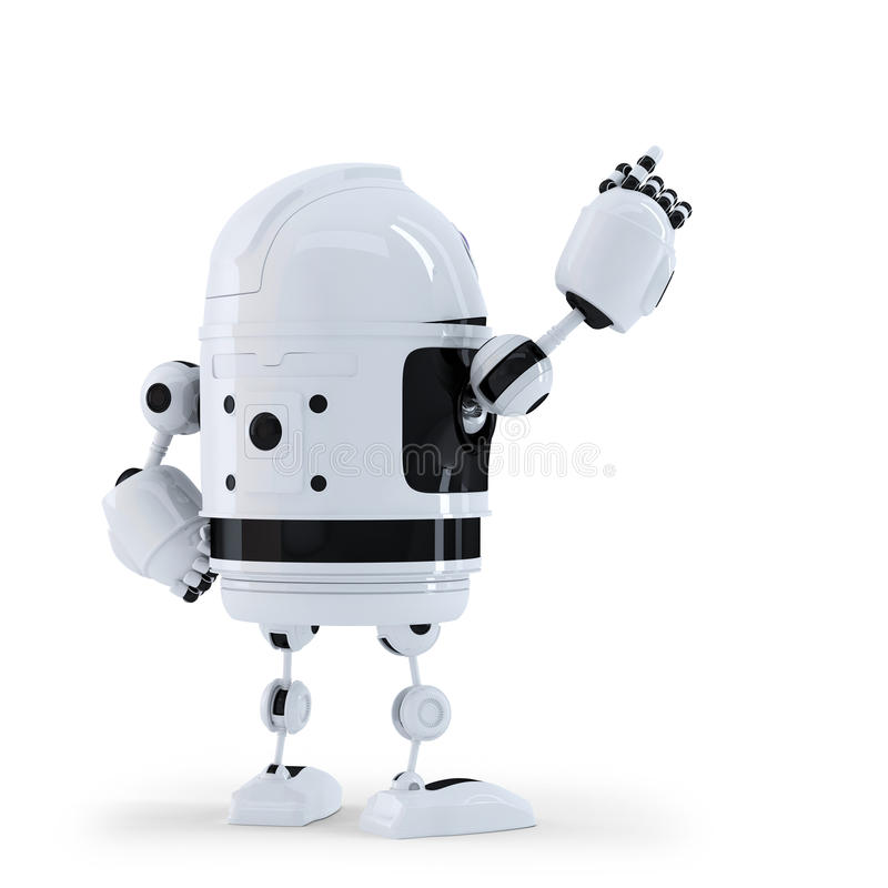 Robot pointing at invisible object. Back view. stock illustration