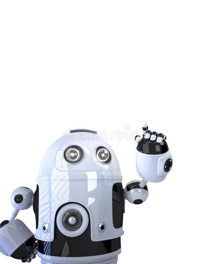 Robot pointing at something vector illustration