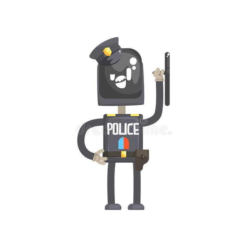 Robot policeman character, android in blue uniform with equipment cartoon vector illustration royalty free illustration