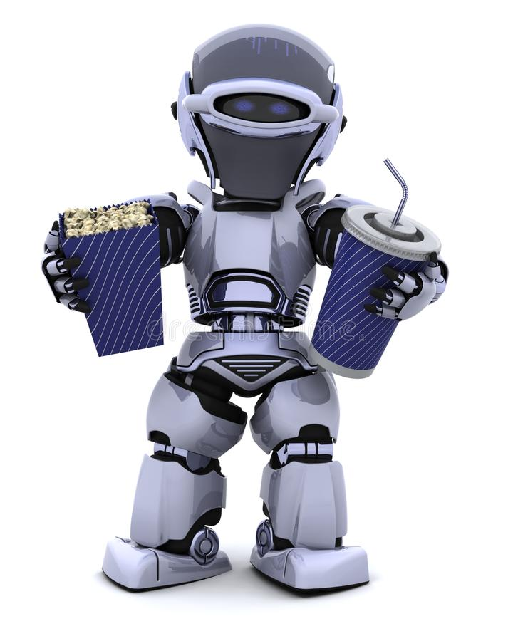 Robot with pop corn bucket and soda royalty free stock photography