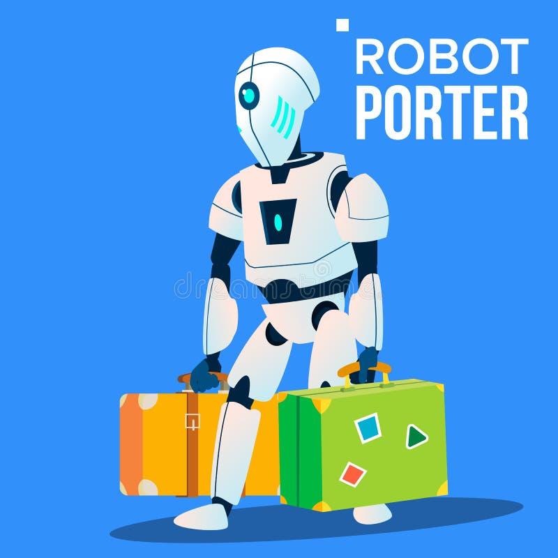 Robot Porter Carries mycket bagagevektor isolerad knapphandillustration skjuta s-startkvinnan royaltyfri illustrationer