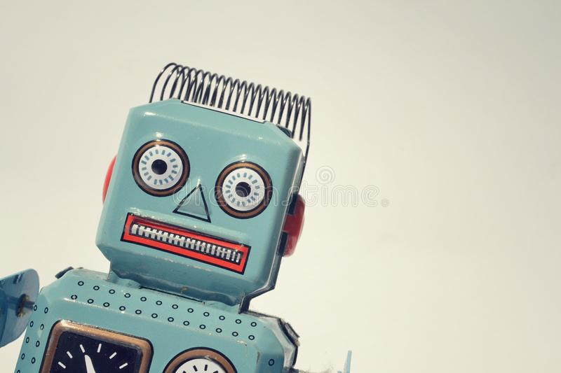 Robot. Portrait of a vintage tin toy robot