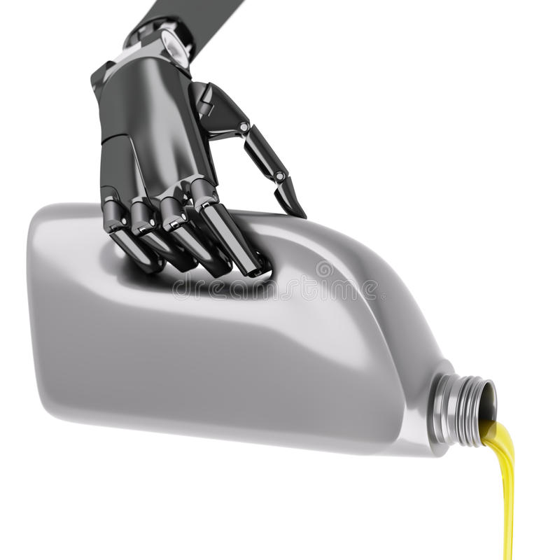 Robot Pouring Motor Oil Isolated on White 3d Illustration stock photography
