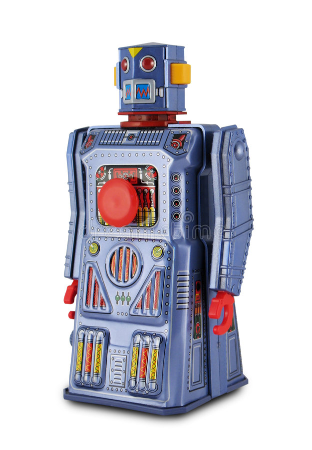 Robot pourpré de jouet de bidon photographie stock