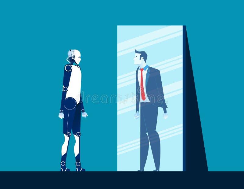 Robot pozycja i przyglądający ciało w lustrze mężczyzny odbicie Pojęcie biznesowa wektorowa ilustracja Płaski projekta styl ilustracja wektor
