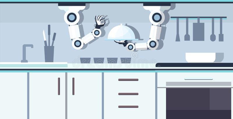 Robot práctico elegante del cocinero que sostiene la bandeja de servicio que prepara la comida tecnología auxiliar robótica de la stock de ilustración