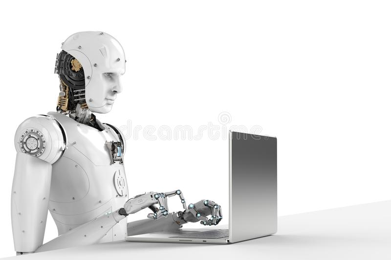 Robot praca na laptopie fotografia stock