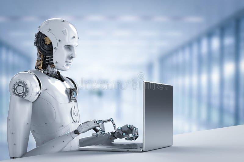 Robot praca na laptopie ilustracja wektor